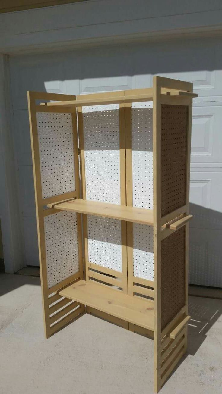 Folding Pegboard Display (w/ 2 Shelves); Additional Shelves Can Be Added (