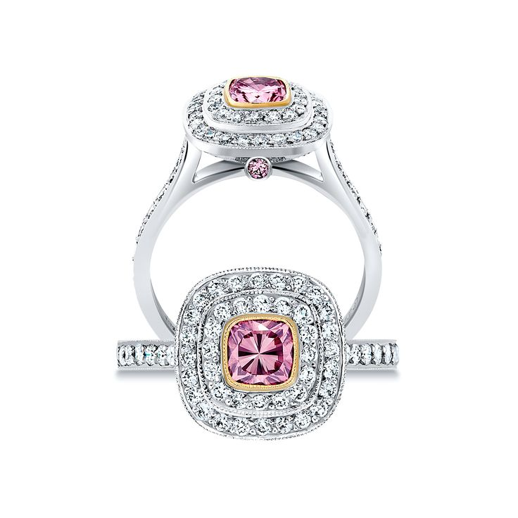 Cushion Cut Pink Argyle Ring