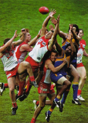 My favourite moment in the 2005 grandfinal an outstanding mark by Leo Barry