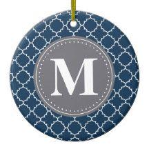Ein schickes, modisches, modernes marokkanisches Gittermuster im Marineblau und Weiß mit einer grauen und weißen Monogrammschablone kennzeichneten int, den er zentriert.  Ein niedliches personalisiertes Geschenk für Damen elegante geometrische Muster dieser Liebe.
