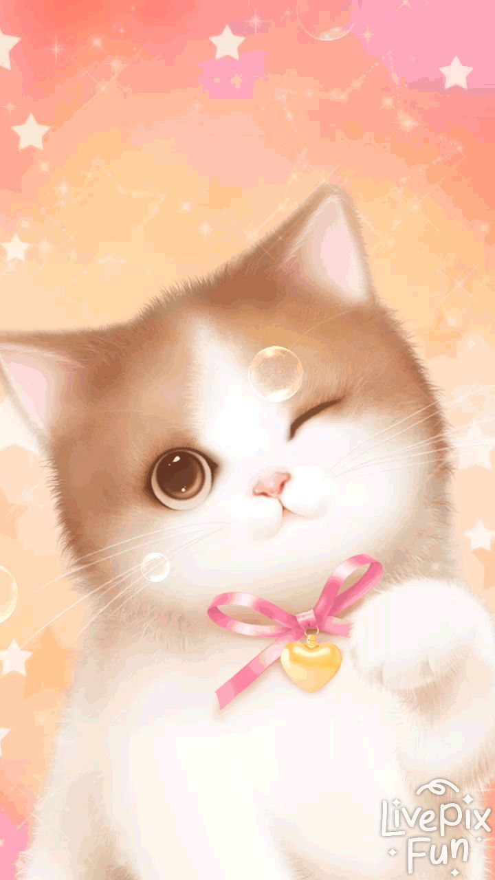 Lovely Pink Cat Live Wallpaper For Android Phones Little Kitten Live Wallpaper From Livepixfun Android Cat Cat Background Cat Wallpaper Pink Cat