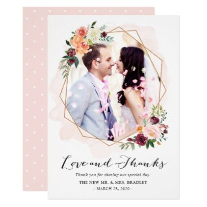 #Modern Watercolor Floral Wedding Photo Thank You Card - #weddinginvitations #wedding #invitations #party #card #cards #invitation #photo
