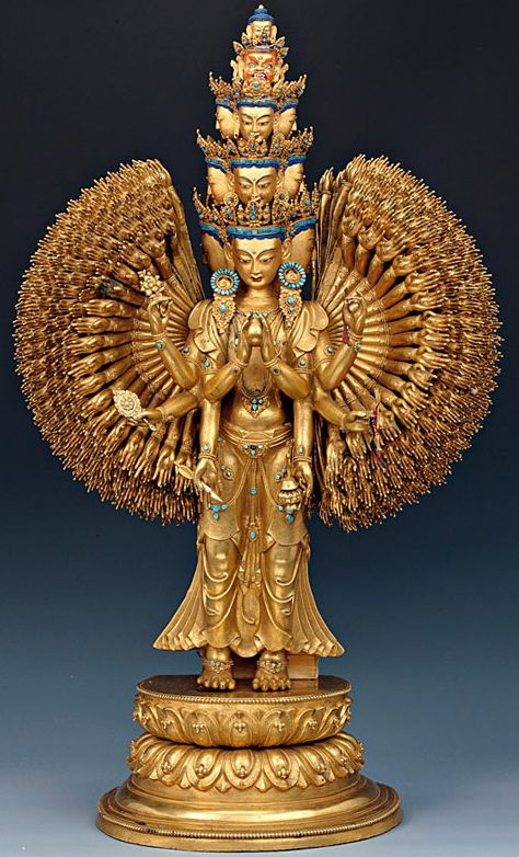 Thousand Arms Chenrezig, Bodhisattva of Compassion, 17th-18th century, Tibet, gilt copper alloy with turquoise inlay and pigments, located at the Norbulingka, Lhasa, Tibet (summer palace of the Dalai Lamas)
