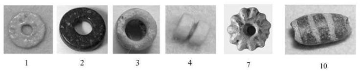 Fig. 1. Esempi di vaghi in faïence e/o vetro da Villa San Pietro, Perda 'e Accutzai; materiali dalla tomba megalitica ascritti al Bronzo Recente (ca. 1370-1170 a.C. ) (1). Il corredo conteneva oltre un migliaio di vaghi in materiale vetroso, prevalentemente piccole perle discoidali in faïence  con variabili aggiunte di vetro (1,2,3,4) e di diametro massimo pari a 6 mm. La 4 cilindrica segmentata in faïence. Il 7 è un bottone a rosetta con profilo piano-convesso e 11 incisioni radiali ed una…