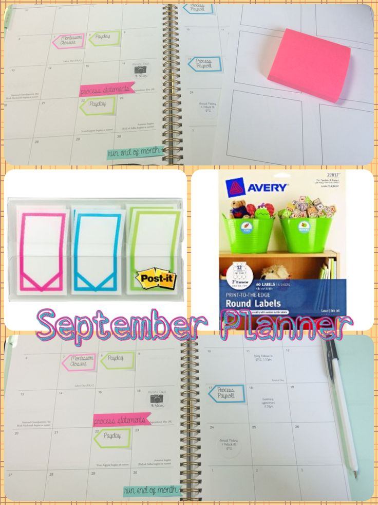 "My September Planner <3  Items used: Divoga 2015-2016 Planner from Office Depot Post It Study Tabs Avery 2"" Round Labels 3x3 Post Its  Using Microsoft Word, create a blank template for 3x3 sticky notes (I drew a black text box exactly 2.97"" x 2.97""). Print on blank white paper. Go back into word, edit the text box and change the line color to white or none. Affix the Post it's to the template you printed. Then simply trim the flags down to the desired size. (Planner font is A Gentle Touch)"