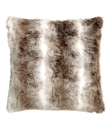 $17.99  20x20  White/light brown. Cushion cover in faux fur with solid-color cotton canvas at back. Concealed zip.