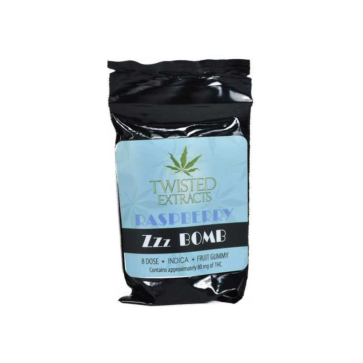 Twisted Extracts Zzz Bombs are available in 2 fruit flavours: Blue Raspberry and Black Cherry. Each package contains 80mg of Indica THC dividable into 8 doses of 10mg THC each  Best for nighttime usage.  Zzz Bombs provide a consistent and reliable delivery system for the ingestion of Cannabis.