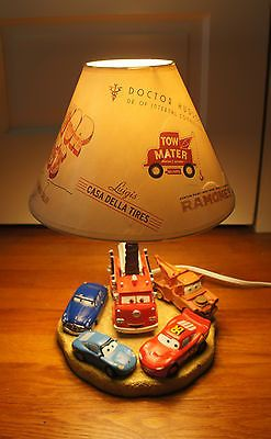Disney Pixar Cars Radiator Springs Lamp & Shade McQueen Mater Doc Sally Red HTF