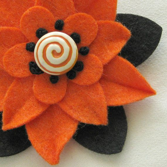 Halloween felt flower pin with vintage swirl button and embroidery. ETSY
