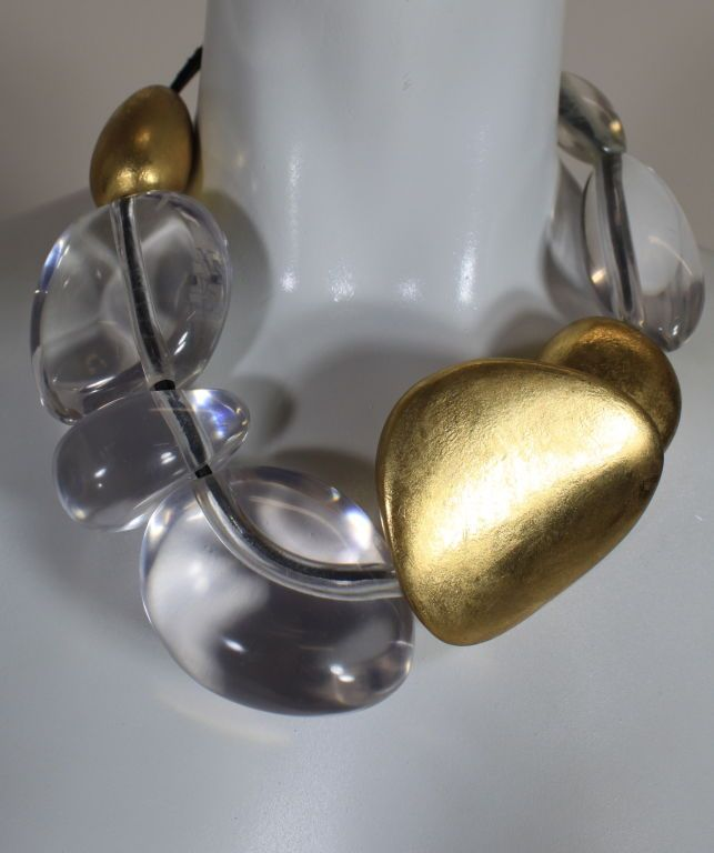 Gerta Lynggaard Lucite and Gold Lacquered Wood Necklace