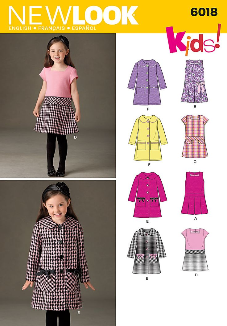 Childs dress, jumper and coat Sewing Pattern 6018 New Look