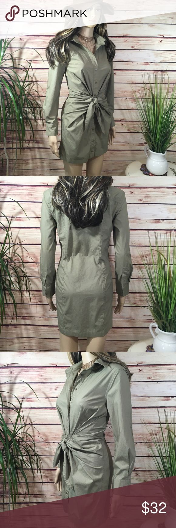 TIE FRONT SHIRT DRESS NWOT Adorable shirt dress, with full front buttons and cuffs and a stylish tie front, Sage green. Very versatile with a pair of boots, gladiator sandals, heels or flats! Great wardrobe piece. 🌸🎀 Banana Republic Dresses Long Sleeve