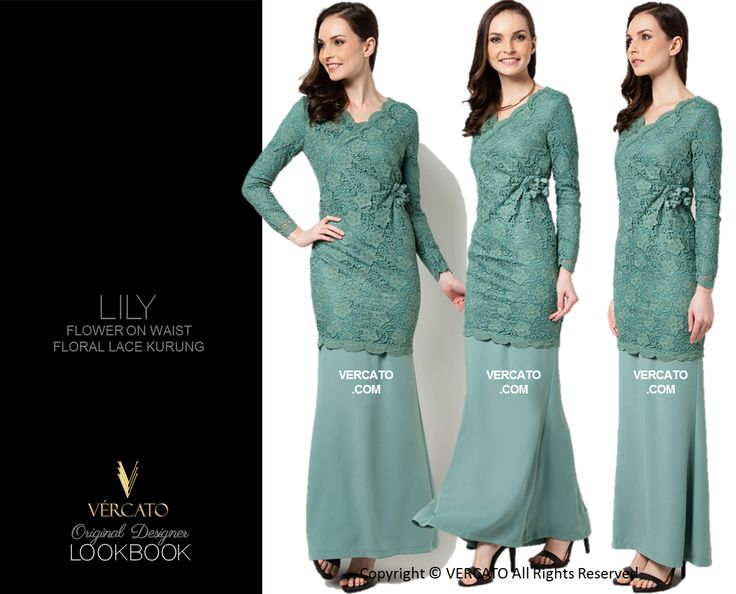VERCATO (LILY FLOWER ON WAIST FLORAL LACE KURUNG TEAL): www.vercato.com