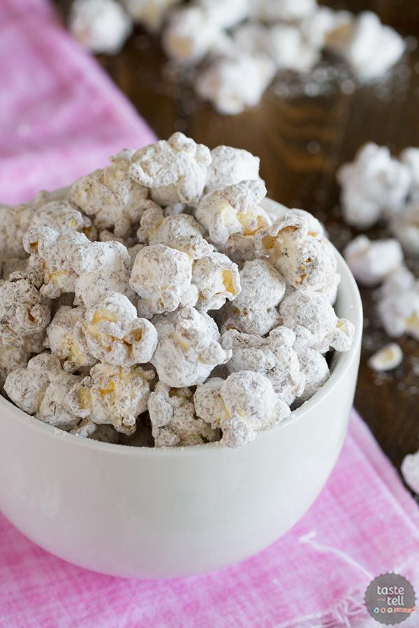 Muddy Buddy Popcorn - the perfect chocolate and peanut butter combination!