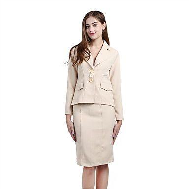 Feminino+Conjunto+Saia+Suits+Casual+Moda+de+Rua+Todas+as+Estações,Sólido+Amarelo+Algodão+Decote+V+Manga+Longa+Média+–+BRL+R$+342,63