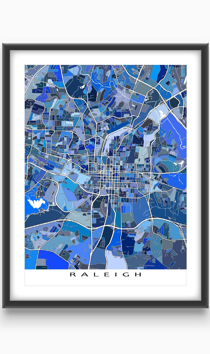 North America Map In R%0A Hang a bit of beautiful Raleigh North Carolina on your wall  with this  Raleigh  map print  This city map has a modern  abstract art design made  from of
