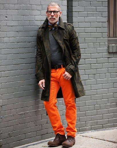 How to wear orange pants convincingly (Nick Wooster)