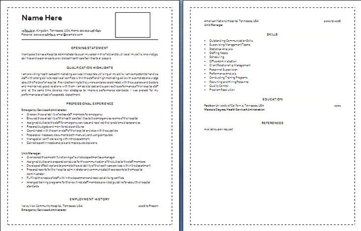 medical resume template word