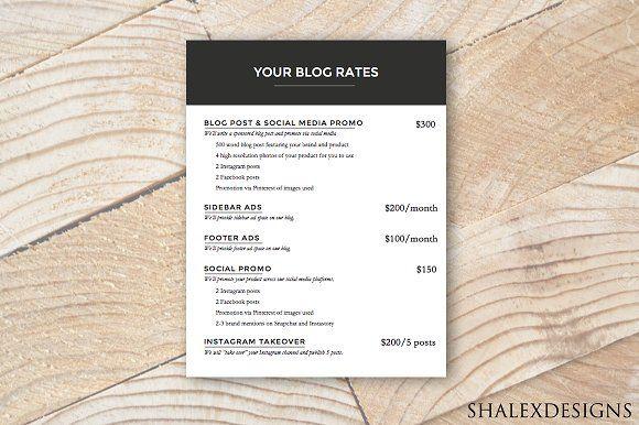 Ad Rate Sheet - Blog Rate Kit  @creativework247