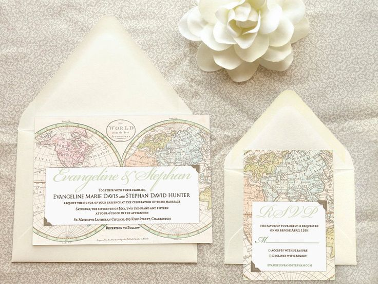 Old World Map Travel Wedding Invitations  Destination by merrymint