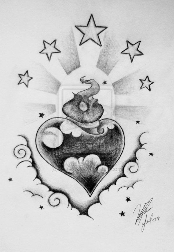Cloud Tattoo Drawing: 26 Best Stars And Clouds Tattoo Sketches Images On