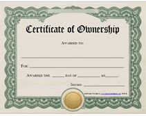 Free Printable Certificates of Ownership Form Templates