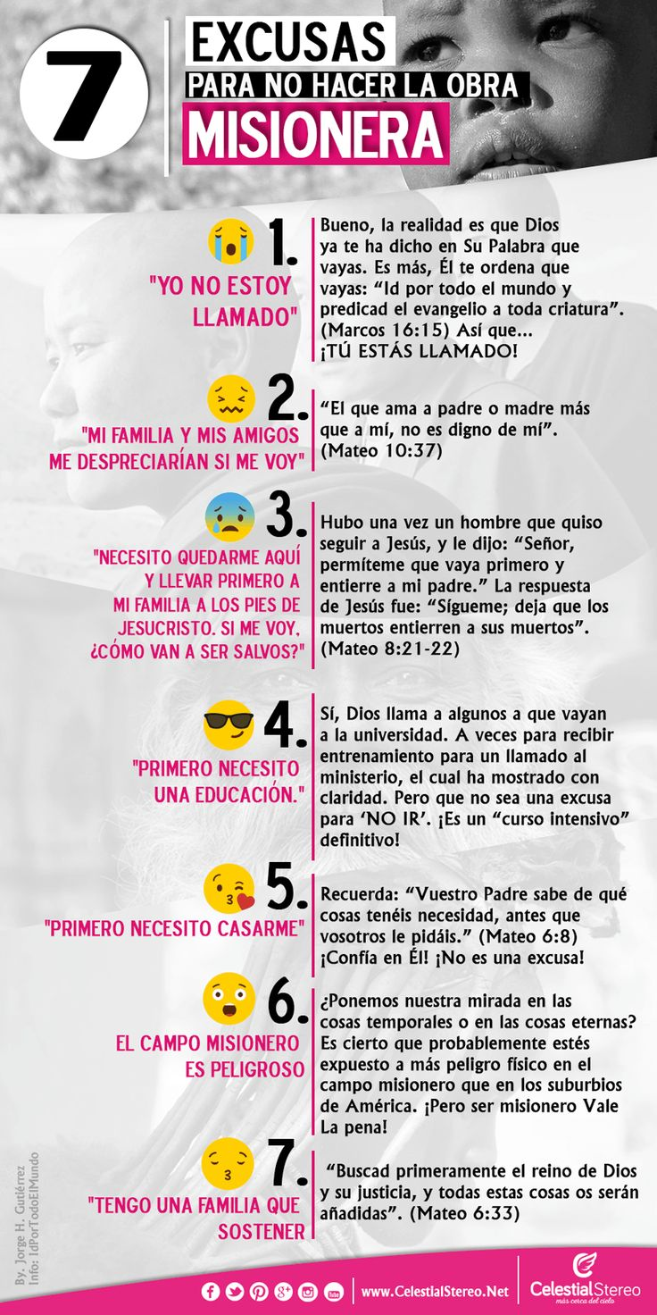 7 excusas para no hacer la obra misionera – Celestial Stereo :: Radio Cristiana #Misiones #misionero #Cristianos #infografias