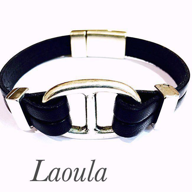 Bracelet cuir double lacets noir graine de café