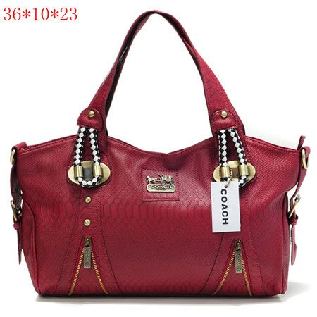 Coach New Madison Python Leather Tote Bag Red