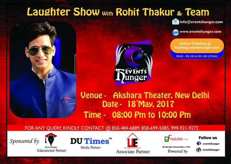 we are glad to announce that booking for Laughter Show with Rohit Thakur is now started, people can book their tickets from here https://booking.eventshunger.com/  For any inquiry, kindly contact: Kshitiz Jain - 8504846889 Raghuveer Soni - 8586995085  #Anchor  #StandUpComedy #StandupComedian #akshratheter #delhianchor #delhicomedian #CharacterAct #RohitThakur