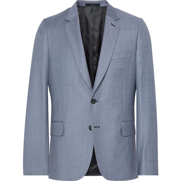 Paul Smith Blue Soho Slim-Fit Wool-Twill Suit Jacket (50.015 RUB) ❤ liked on Polyvore featuring men's fashion, men's clothing, men's outerwear, men's jackets, mens slim fit wool jacket, mens slim fit jackets, mens wool jacket, mens slim jacket and mens wool outerwear