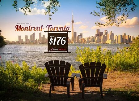 Book your Return flight from Montreal to Toronto.. Offer valid till 7/1/2018