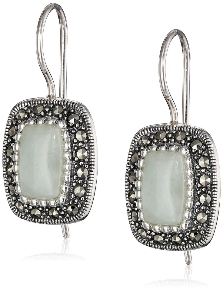 Sterling Silver Marcasite Green Jade Rectangle Wire Drop Earrings: