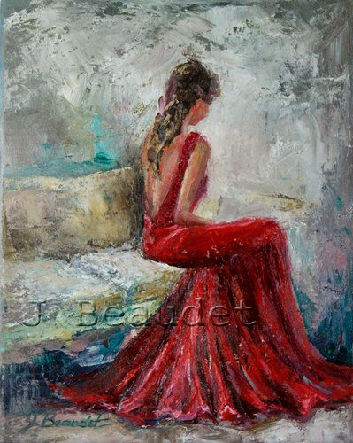 impressionist womens red dress and oil painting abstract