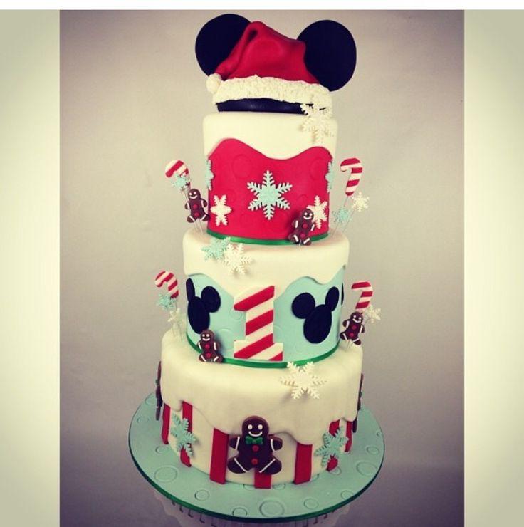Winter wonderland Mickey cake