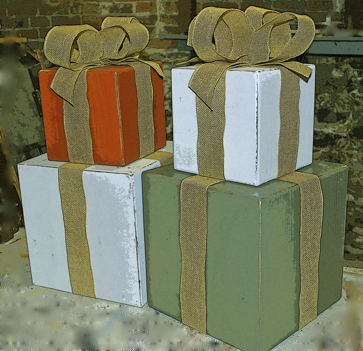 Wooden Stacked Christmas Boxes....