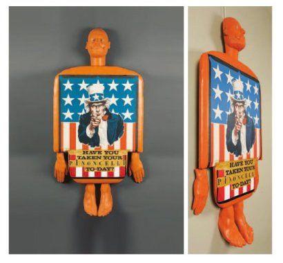 """US Drogs, 1990 Technique mixte et plâtre peint Signé, daté et titré au dos 140 x 70 cm Bibliographie : """"Wanted Pierre Pinoncelli""""p. 112, 2005."""