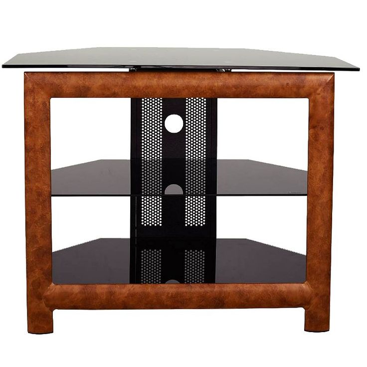 Metal TV Stand With Black Glass, Brown