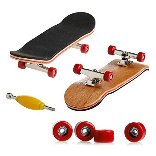 Wooden Maple Fingerboard with Red Wheels - Starter Edition by Delight eShop  Material: Wooden, Plastic and Meta  Color: Black/White/Red/Yellow/Dark Blue/Light Blue  Skateboard Size: 100mmx28mmx15mm, Panel: 5 layers maple  Plate: special thick non-slip pad pu, Wheels: full closed bearing wheels  Package includes: 1Pc x Deck 1Pc x Anti-skid pad 2Pcs x Bracket 4Pcs x Bearing Wheels 4Pcs x Nuts 8Pcs x Screws 1Pc xFingerboard tool