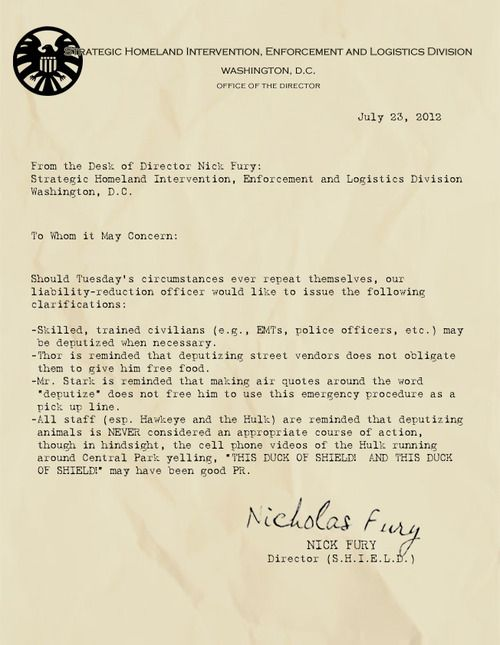 From the desk of Nick Fury