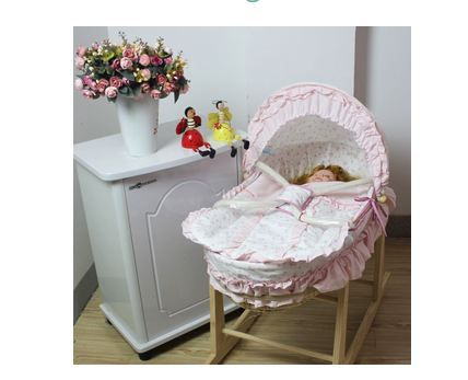 Pink Baby Moses Basket Bassinet with Rocking Stand at Just $119.95 #babymosesbasket