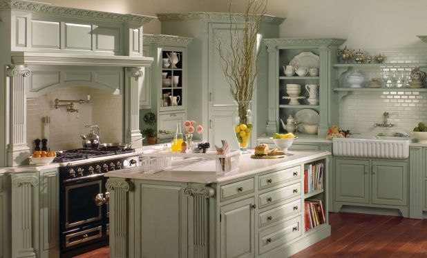 Green scheme wall color french country kitchen with table using white marble countertop and black stove oven complete storage drawer of glass lid idea also brown wooden flooring inspiration design