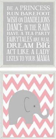Elephant Chevron Baby Girl Nursery Prints and Gray Pink Wall Art Love