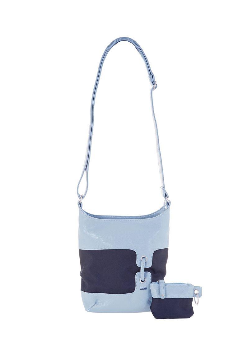 Frauentaschen :: BONJOUR :: B8 | ZWEI Taschen Handtasche :: Nylon :: Materialmix ::  blau