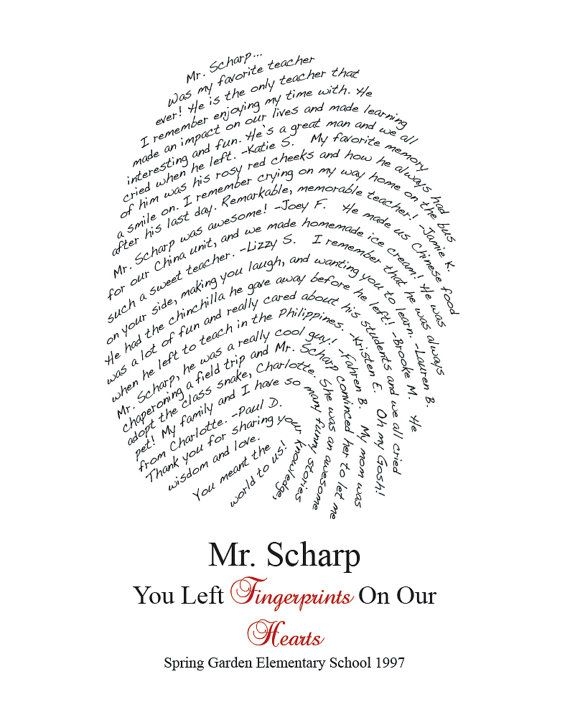 Fingerprint Design Personalized for your Class/Teacher - You Print DIY on Etsy, $25.00