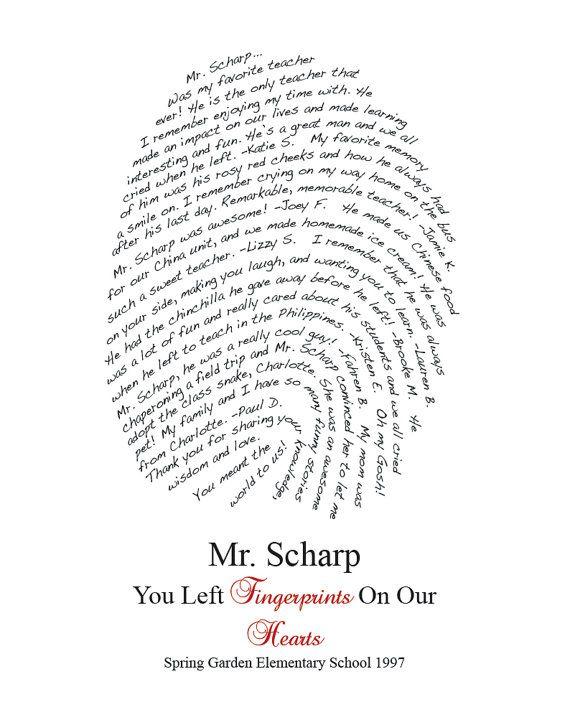 Personalized Teacher Gift Fingerprint Design You by myloveydove, $35.00