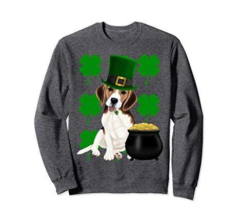 3c85a9c4 Irish Beagle St. Patrick's day sweatshirt with clovers Saint Patrick's Day  beagle wearing a green