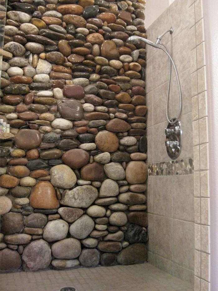 river rock shower