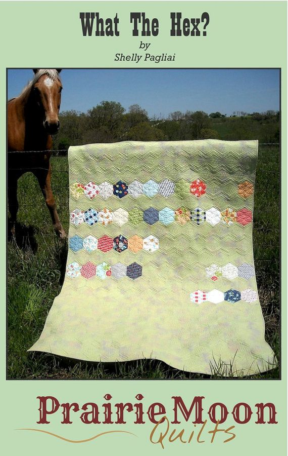 What The Hex Modern Hexagon Patchwork Quilt by prairiemoonquilts