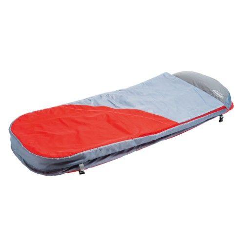 Pour les copains, les week-ends ou les voyages, voici un lit d'appoint gonflable très pratique. Facile à transporter grâce à son sac de rangement intégré, il se gonfle et se dégonfle rapidement (pompe fournie). Le sac de couchage se déhousse entièrement pour un entretien en machine. Un plus : le lit peut être transformé en siège par un système de clips latéral.